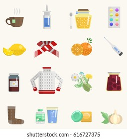 Flu influenza catch a cold sick icons vector set aids pills aspirin honey medicine natural herbs lemon vitamin sweater. Different treatment objects and healthcare illustration isolated on white.