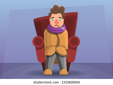Flu man in chair concept banner. Cartoon illustration of flu man in cjair vector concept banner for web design