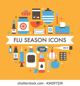 flu season icons vector illustration