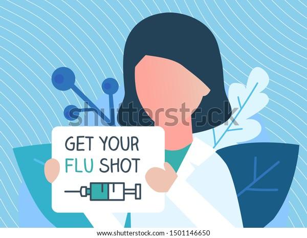 Flu Shot Vaccine Banner Nurse Syringe Stock Vector Royalty Free 1501146650