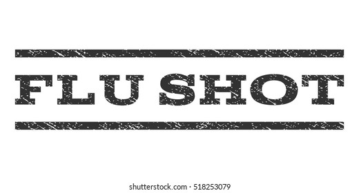 Flu Shot watermark stamp. Text tag between horizontal parallel lines with grunge design style. Rubber seal stamp with dirty texture. Vector gray color ink imprint on a white background.