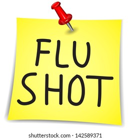 Flu Shot written on a Note Paper with pin on white background