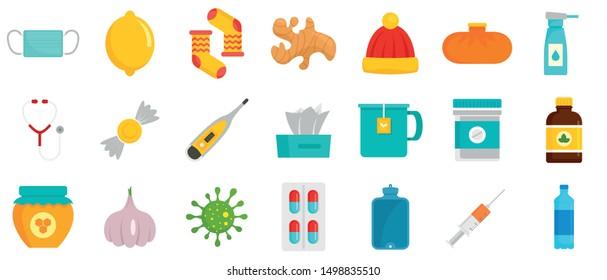 Flu sick icon set. Flat set of flu sick vector icons for web design