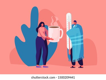 Flu and Sickness Concept with Sick Person Having Cold. Ill Man Wrapped to Warm Plaid Holding Huge Thermometer Woman Giving him Hot Drink. Medicine Disease Illness. Cartoon Flat Vector Illustration