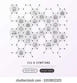 Flu and symptoms concept in honeycombs thin line icons: temperature, chills, heat, runny nose, doctor with stethoscope, nasal drops, cough, phlegm in the lungs. Modern vector illustration.