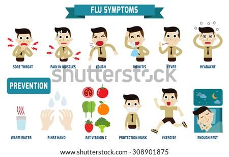 flu symptoms influenza health concept infographic stock vector
