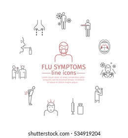 Flu Symptoms. Influenza. Treatment. Web Banner. Line icons set. Vector signs for web graphics.