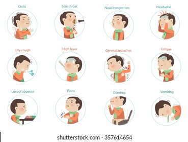 flu symptoms (influenza)kids Character sets. vectors illustrations