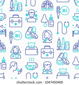 Flu and symptoms seamless pattern with thin line icons: temperature, chills, heat, runny nose, bed rest, pills, doctor with stethoscope, nasal drops, cough, phlegm in the lungs. Vector illustration.