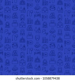 Flu and symptoms seamless pattern with thin line icons: temperature, chills, heat, runny nose, doctor with stethoscope, nasal drops, cough, phlegm in the lungs. Modern vector illustration.