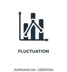 Fluctuation icon. Black filled vector illustration. Fluctuation symbol on white background. Can be used in web and mobile.
