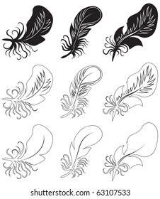 Fluff and feathers. Black and white vector illustration