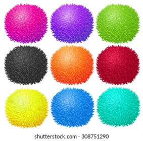 Fluffy ball in many colors illustration