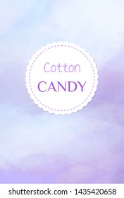 Fluffy candyfloss of purple color, cotton candy holiday treats logo. Vector summer trip for kids, airy sweetness, plum taste confectionery made of sugar