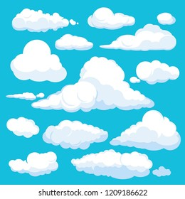 Fluffy cartoon clouds. Shine sky weather illustration panorama clean vector set isolated. Cloudscape and cloud nature fluffy in air