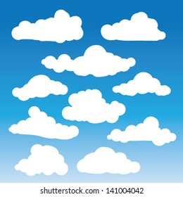 Fluffy clouds vector - Collection of stylized cloud silhouettes, great for clipart or icon creation