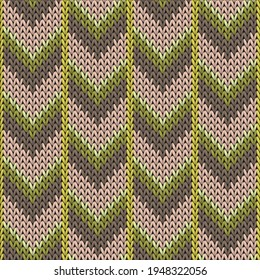 Fluffy downward arrow lines knitted texture geometric seamless pattern. Ugly sweater knit effect ornament. Classic warm seamless knitted pattern. Cozy textile print design.