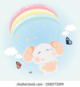fluffy elephant with rainbow parachute