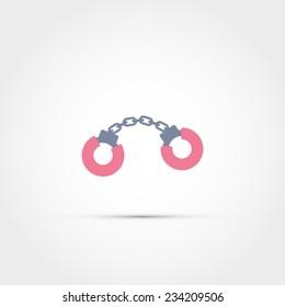 Fluffy handcuffs icon