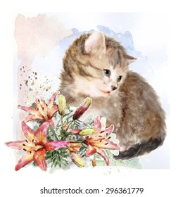 Fluffy kitten with lilies.  Vintage postcard.  Imitation of watercolor painting.