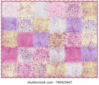 Fluffy mohair plaid with checkered pattern in pastel colors isolated on white