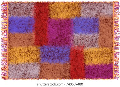 Fluffy mohair plaid with colorful weave rectangular elements and fringe isolated on white