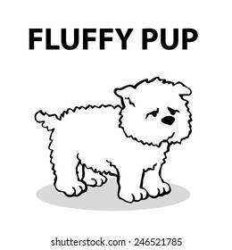 Fluffy pup, simple vector dog illustration