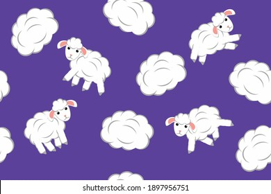 fluffy sheep and clouds - child seamless pattern
