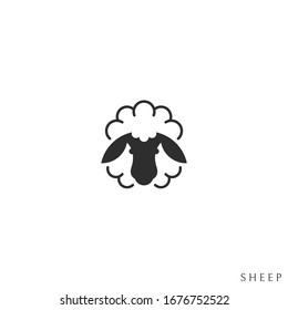 Fluffy sheep. Domestic animal. Logo. Isolated sheep on white background