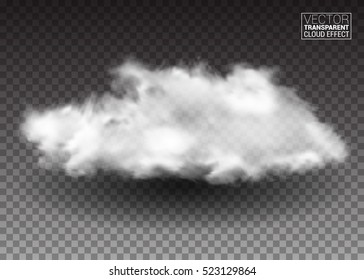 Fluffy white clouds. Realistic vector design elements. smoke effect on isolated transparent background. Vector illustration.