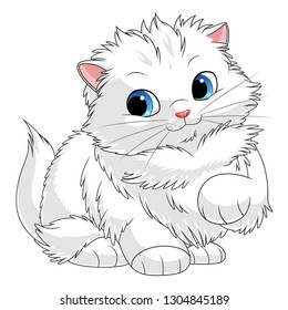 Fluffy white kitten. Cartoon kittens series. See more similar kittens in my portfolio.