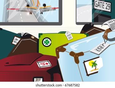 Flughafen mit Koffern und Flugzeug im Hintergrund, Ab in den Urlaub!