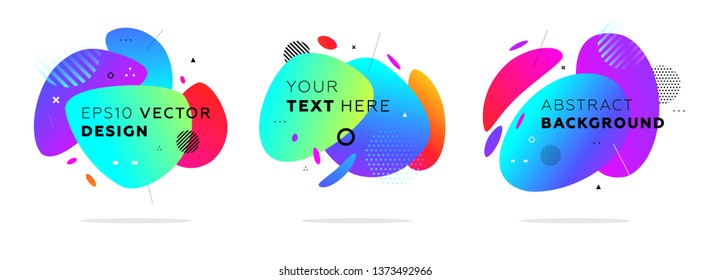 Fluid abstract dynamic shapes set. Trendy badges geometric design. Eps10 vector illustration