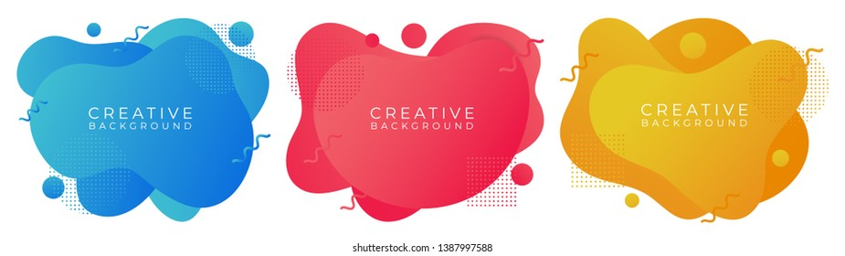 fluid abstract liquid badges shapes colorfull background. for banner web, app, poster vector
