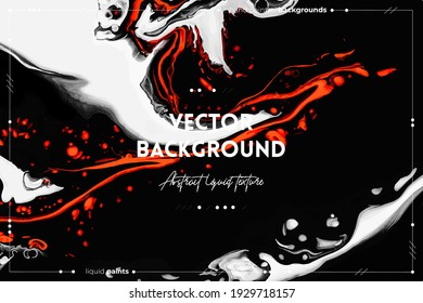 Fluid art texture. Background with abstract mixing paint effect. Liquid acrylic artwork with flows and splashes. Mixed paints for posters or wallpapers. Orange, black and white overflowing colors.
