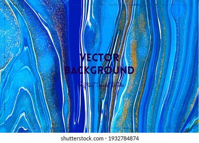 Fluid art texture. Background with abstract mixing paint effect. Liquid acrylic artwork that flows and splashes. Mixed paints for website background. Navy blue, golden and azure overflowing colors.