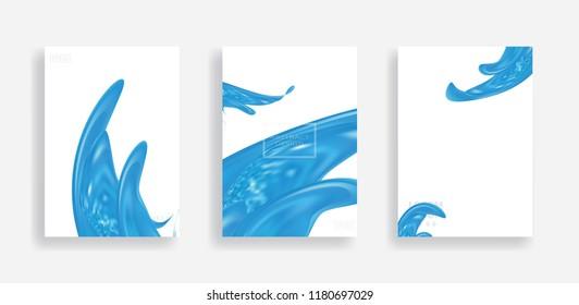 fluid background design element vector set