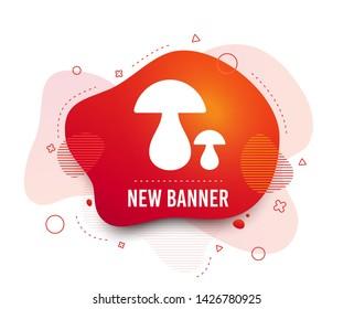Fluid badge. Mushroom sign icon. Boletus mushroom symbol. Abstract shape. Gradient mushroom icon. Flyer liquid banner. Vector