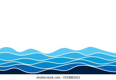 Fluid blue ocean wave layer abstract background vector illustration.