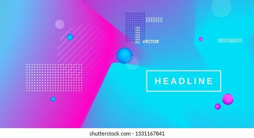 Fluid bright color gradient. Minimal futuristic liquid gradient design. Pink and blue trendy template. Vector graphic design