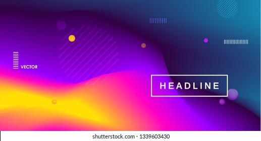 Fluid bright color gradient. Minimal futuristic liquid gradient design. Pink, yellow and purlpe trendy template. Vector graphic design