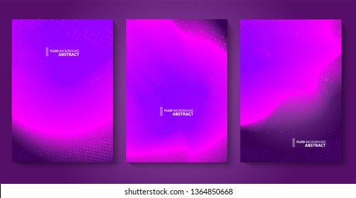 Fluid bright color gradient. Minimal futuristic liquid gradient design. Pink, violet and purlpe color trendy set template. Vector
