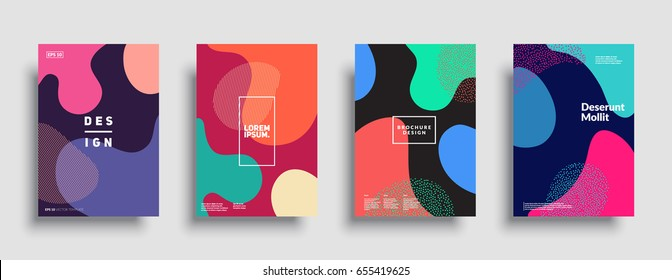 Fluid color covers set. Colorful bubble shapes composition. Trendy minimal design. Eps10 vector.