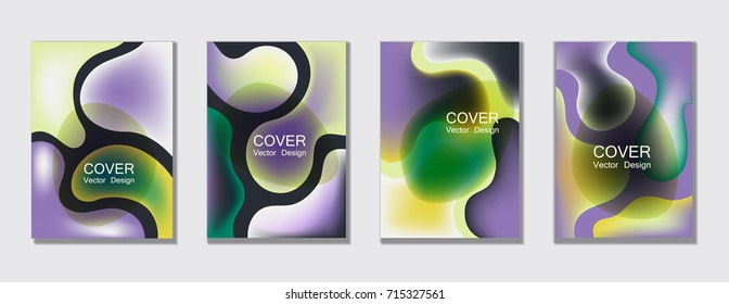 Fluid color covers set trendy vector design for business brochure, booklet, flyer. Colorful bubble shapes composition with gradients. Brochure cover design future geometric A4 templates.
