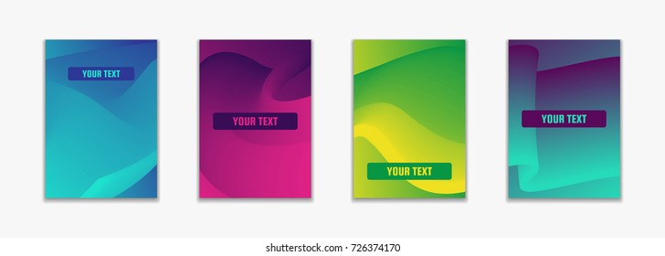 Fluid color simple covers. Colorful gradient geometric shapes composition. Trendy minimal design of vector illustration. For business card, advertising, party event, abstract hipster banner, journal