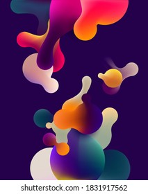 Fluid colorful bubbles on blue background. Abstract vector illustration