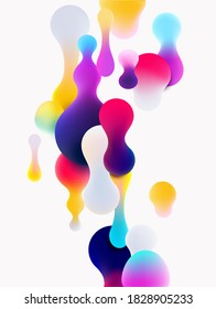 Fluid colorful bubbles on white background. Abstract vector illustration