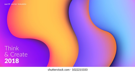 Fluid colorful shapes composition. Trendy liquid gradients. Eps10 vector.