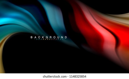 Fluid colors abstract background, twisted liquid design on black, colorful marble or plastic wave texture backdrop, multicolored template for business or technology presentation or web brochure cover