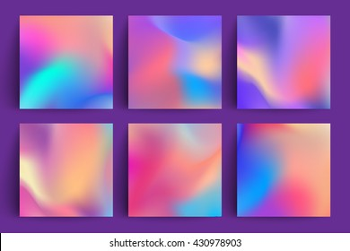 Fluid colors backgrounds set. Applicable for gift card,cover,poster. Vector template.